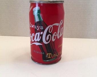 Vintage Coke Soda Can Bank Coke Tin Large Coca Cola Soda Can