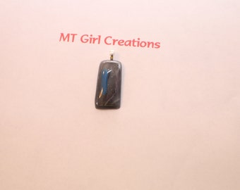 Gray and blue fused glass pendant