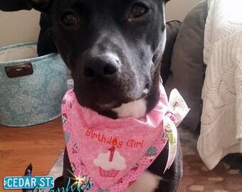Birthday Girl Dog Bandana | Dog Birthday Scarf | Birthday Cupcake Bandanna | Personalized Pet Bandana