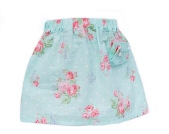 Girls Shabby Chic Mint Blossom Skirt
