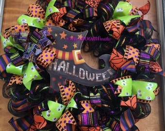 Welcome Halloween Wreath, Witch Boot Halloween Wreath, Fall Wreath Decor, Halloween Whimsical Wreath, Witch Deco Mesh Wreath, Wicked Witch