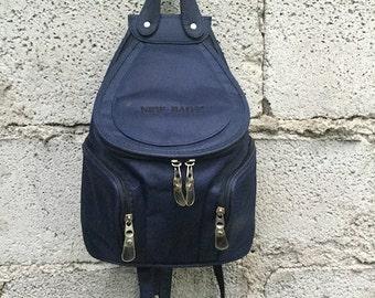 Vintage backpack/ 90s/ blue color/ cloth/ Adjustable straps/ three pockets/ Lined/ internal zip/ height 30 cm