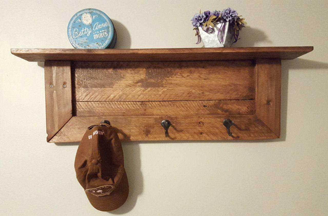 Pallet Wood Wall Shelf Pallet wood wall shelf and coat rack