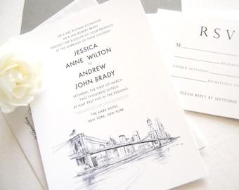 New York City Skyline Wedding Invitation, New York Wedding, NYC Wedding (Sold in Sets of 10 Invitations, RSVP Cards + Envelopes)