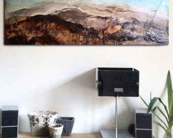 Over the Hills - Original painting ink, collage, pigments and acrylic on canvas. Abstract landscape.