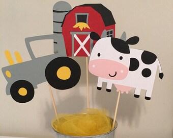 Barn,Tractor,Cow Centerpiece, Farm Birthday Party, Farm Centerpiece, On the Farm Party, Tractor Birthday, Barn house Decor, Farm Decor
