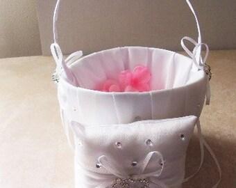 Double Heart Ring Bearer Pillow and Flower Basket Set, Wedding Ring Bearer Pillow Decoration, Ring Bearer's Pillow, Wedding Decoration,