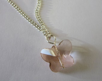 pink Swarovski butterfly pendant necklace with 925 silver chain.