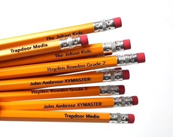 Set of 12 personalized traditional yellow pencils. Custom name or saying on laser engraved pencils. HB #2, number 2 Stocking Stuffers