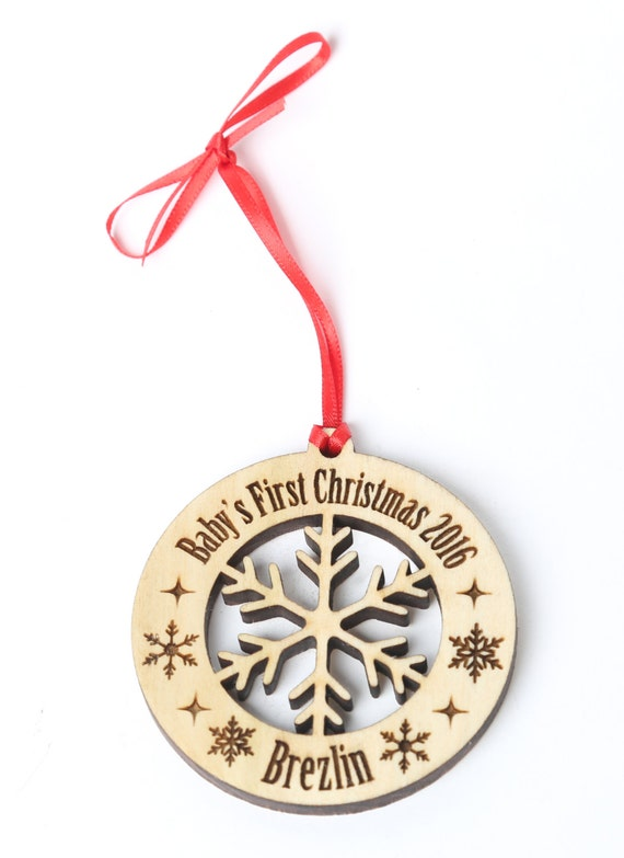 Personalized baby s first christmas ornament solid wood