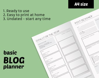 Printable blog planner - blog management kit - instant download ready to use printables - A4 blogging planner - perpetual set