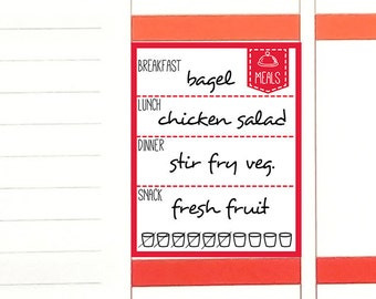 PRINTED Daily food log stickers. Diet meal planning water hydration tracker. For Erin Condren planner. Stickers calendar sticker (Item #206)