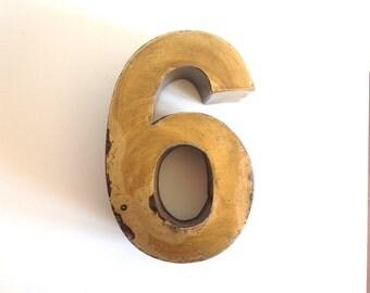 Vintage 3D Number 6 or 9 Marquee Sign / Industrial Number SIX or NINE / Brass