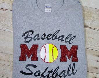 Baseball mom t-shirt, Softball Mom t-shirt, baseball softball mom t-shirt