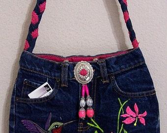 Hummingbird -- Denim Handbag -- Item Number 1270 -- 16 Pockets