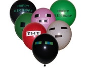 "Set of 21 Misc Gamer Pixel Themed 12"" Latex Balloons - Includes 3 ea TNT, Pig, Green, Black, White, & Green and Black Happy Birthday."