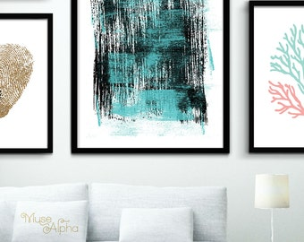 Large Abstract Art Print, Extra Large Contemporary Print, Printable Abstract Art Printable, 24x30 Print, 16x20 Print, Aquamarine Painting