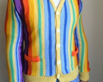 Hand knitted multicolored men's cardigan
