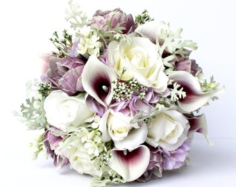 PURPLE WEDDING BOUQUET- Purple Wedding Bridal Bouquet , Real to Touch Peonies Bridal Bouquet, Purple and mint bouquet