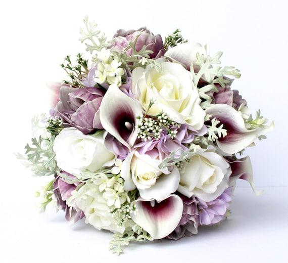 Purple Wedding Flowers: PURPLE WEDDING BOUQUET Purple Wedding Bridal Bouquet Real