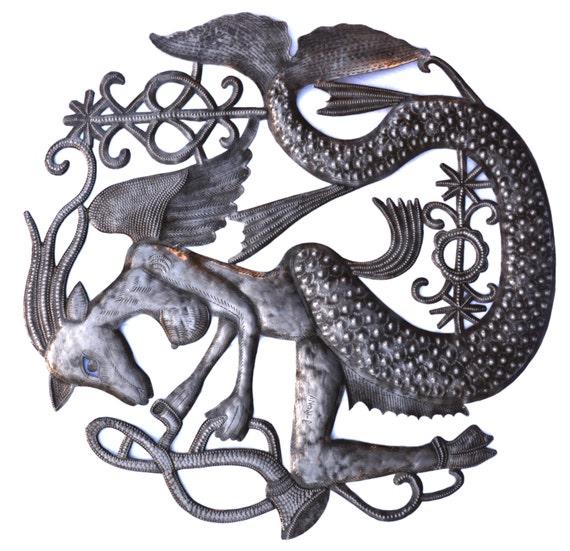 "Musical Nautical Goat, Haitian Metal Art 23"" X 23"""
