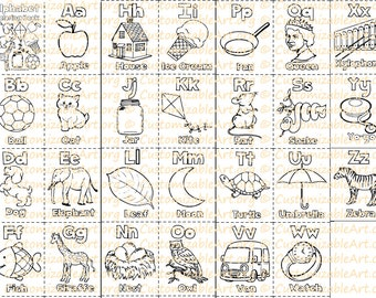 Alphabet Coloring Book Printable Pages Sheets Digital Fun Learning Letters Fo The Alphabets