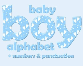 Blue baby boy alphabet clipart, baby feet pattern, children font, capital and small letters, numbers and punctuation; for commercial use
