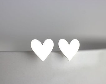 Heart Stud Earrings, 100% sterling silver, Valentine Heart, I love you, Silver Hearts, Queen of Hearts