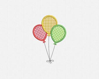 Balloons Applique Machine Embroidery Design - 4 Sizes
