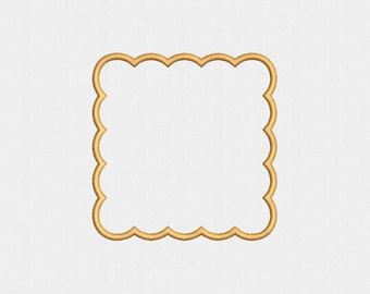 Scalloped Square Applique Machine Embroidery Design - 4 Sizes