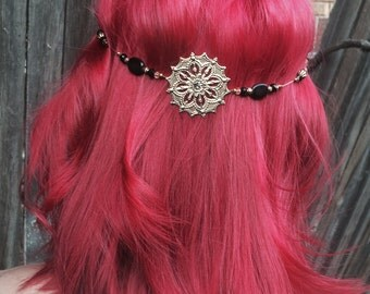 Head Chain Jewelry, Black And Antique Gold Hair Accessory, Hair Chain Accessory,  Hippie Jewelry, Boho Head Chain.