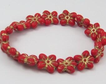 Red Czech Glass Flower Small 5 Petal Matte Opaque Golden Bronze Picasso Glaze 13x14mm Touch Me Not Blossom 10 Beads CPR067