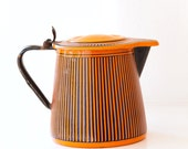 Vintage French Enamel Milk - Hot Water Jug - Art Deco 1920s - BB Frères Orange - Free Shipping within the USA