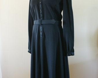 1970's Hugh Garber for H.E II Haute Couture Black Crepe Long Sleeve Shirtwaist Dress Size M - JW-000