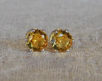 Topaz 6mm Studs, Golden Yellow Topaz Stud Earrings, Topaz Post Earrings, Yellow Topaz Posts, November Birthstone, Lab Created Yellow Topaz
