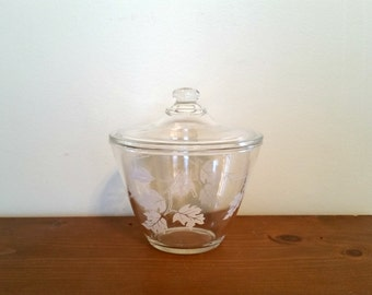 Fire King Grease Jar, Oak Leaf Jar, Lidded Jar, Kitchen Storage, Glass Container, Vintage Grease Jar