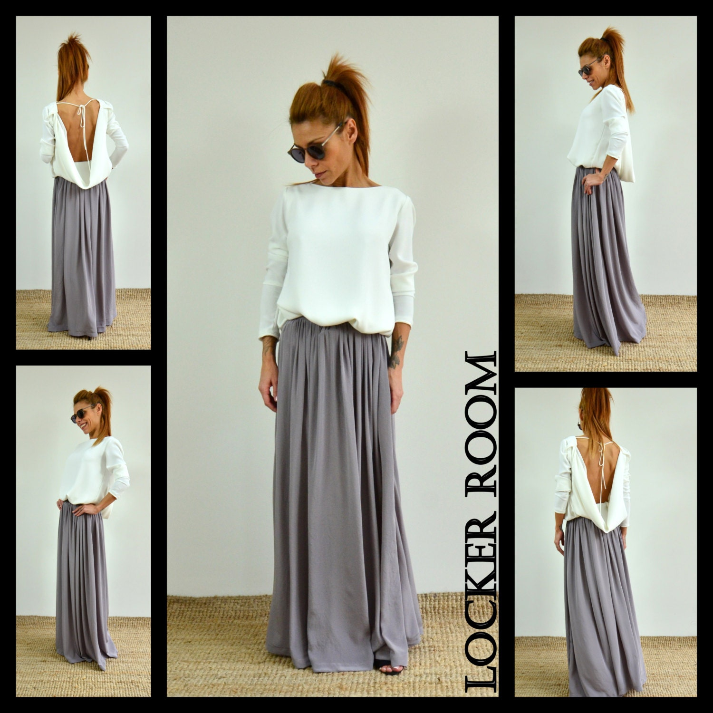 Maxi skirt / Fashion skirt / Long skirt /Woman high waist