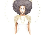 The Great Queen Violetta | fashion illustration print, royalty, gold, watercolor, crown, black art, home decoration, carefree black girl