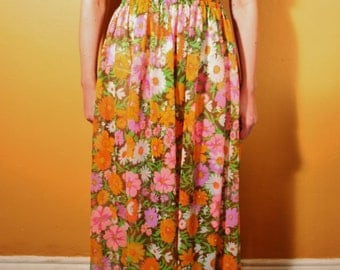 70s Floral Sheer Maxi Dress