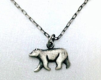 Polar Bear necklace - Oxidized Sterling Silver Polar Bear charm necklace - Bear jewelry - Black Silver necklace - Polar Bear jewelry