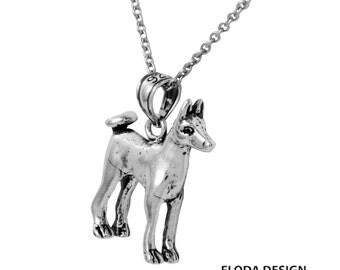 Basenji 3D Dog Necklace in Sterling Silver, Dog Jewelry, Animal Jewelry, Basenji Jewelry  FD-25-26