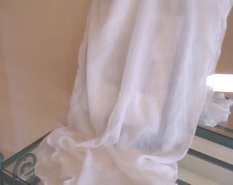 Ivory Georgette Bridal Wrap, Scarf, Collar Shawl, Waist Sash