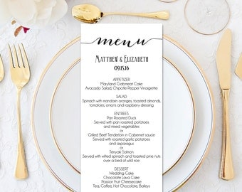 Wedding Menu, Wedding Menu Template, Menu Cards, Menu Printable, Formal  Wedding,  Formal Dinner Menu Template