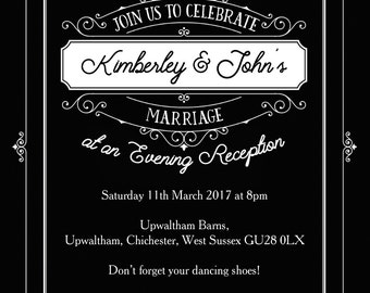 Personalised Black Elegant Vintage Evening Wedding Reception Invitation with envelope