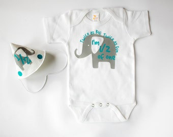 Half Birthday Outfit for Baby Boy, Personalized, Grey and Turquoise Elephant Theme, Set Includes Hat and Bodysuit,  1/2 Birthday Photos