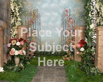 Digital Photo Background Spring Garden Prom Download Backdrop