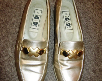 1990's Gold Statement Loafers size 38/5 UK