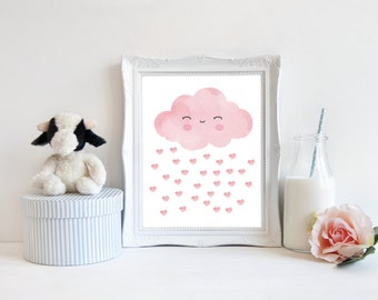 Watercolor Cloud Digital Art, Baby girl nursery art, Pastel Pink nursery print, Sweet Cloud Instant download (BabyArt G10)