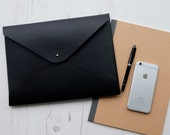 MONOGRAM A4 Leather Document Portfolio Case Letter Folder Holder  Black Custom Personalized