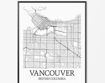 Vancouver Map Art Print, Vancouver Poster Map of Vancouver Decor, Vancouver City Map Art, BC British Columbia Vancouver Canada Art Poster